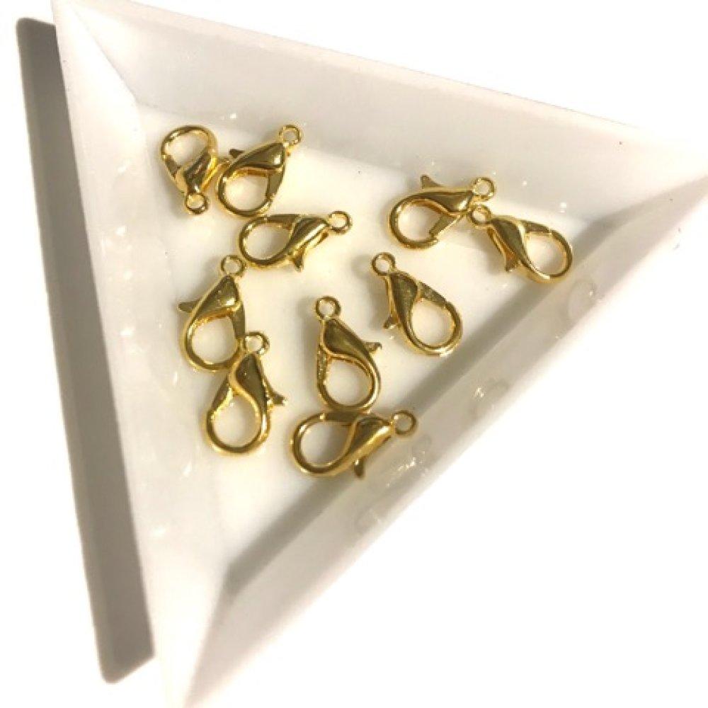 10 fermoirs mousqueton métal doré 12mm