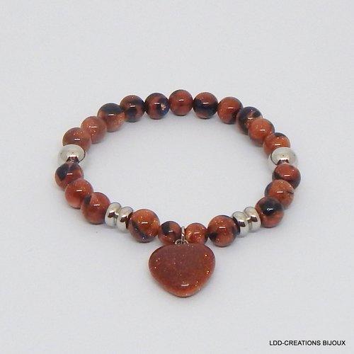 Bracelet coeur pierres naturelles grès cuivre, acier