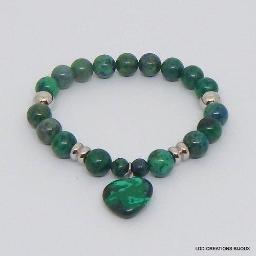 Bracelet coeur pierres naturelles malachite/lapis lazuli, acier
