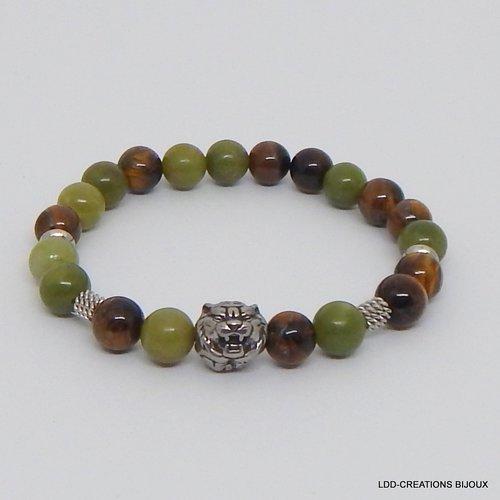 Bracelet tigre pierres naturelles jade vert et oeil de tigre, acier