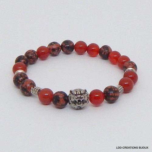 Bracelet tigre pierres naturelles cornaline et obsidienne acajou, acier