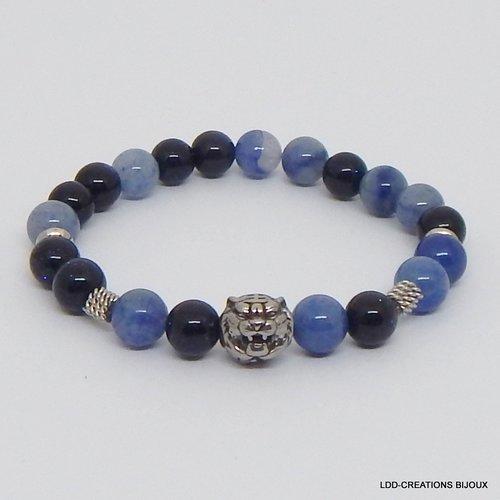 Bracelet tigre pierres naturelles aventurine et grès bleu, acier
