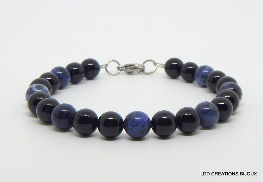 Bracelet pierres naturelles semi-précieuses onyx et sodalite