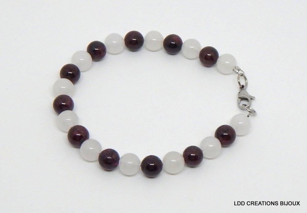 Bracelet haute qualité jade blanc et grenat pierres gemmes semi-précieuses