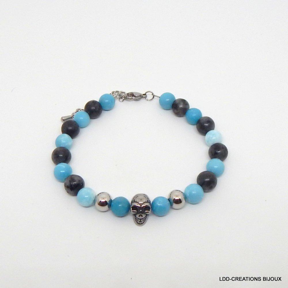 Bracelet homme crâne pierre naturelle larimar labradorite