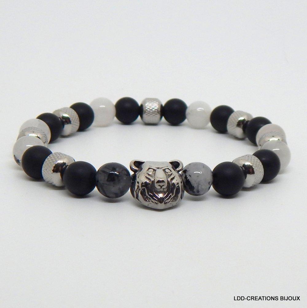 Bracelet quartz onyx ours homme pierres naturelles
