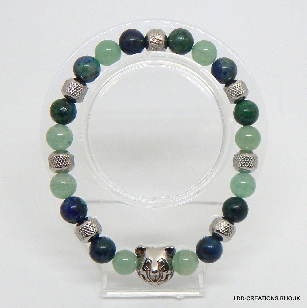 Bracelet ours malachite aventurine homme pierres naturelles