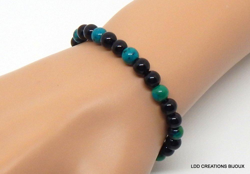 Bracelet pierre naturelle gemmes onyx et chrysocolle