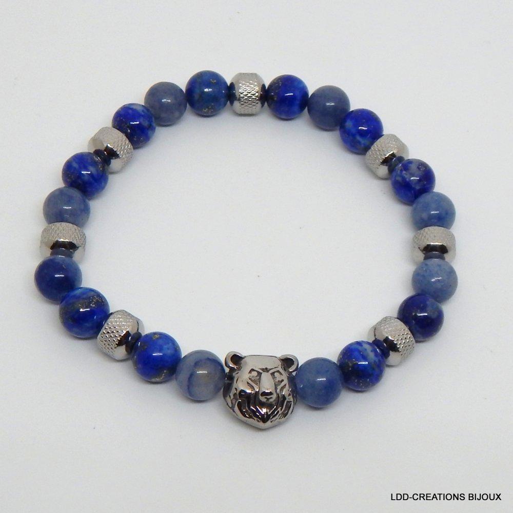 Bracelet homme pierres gemmes ours