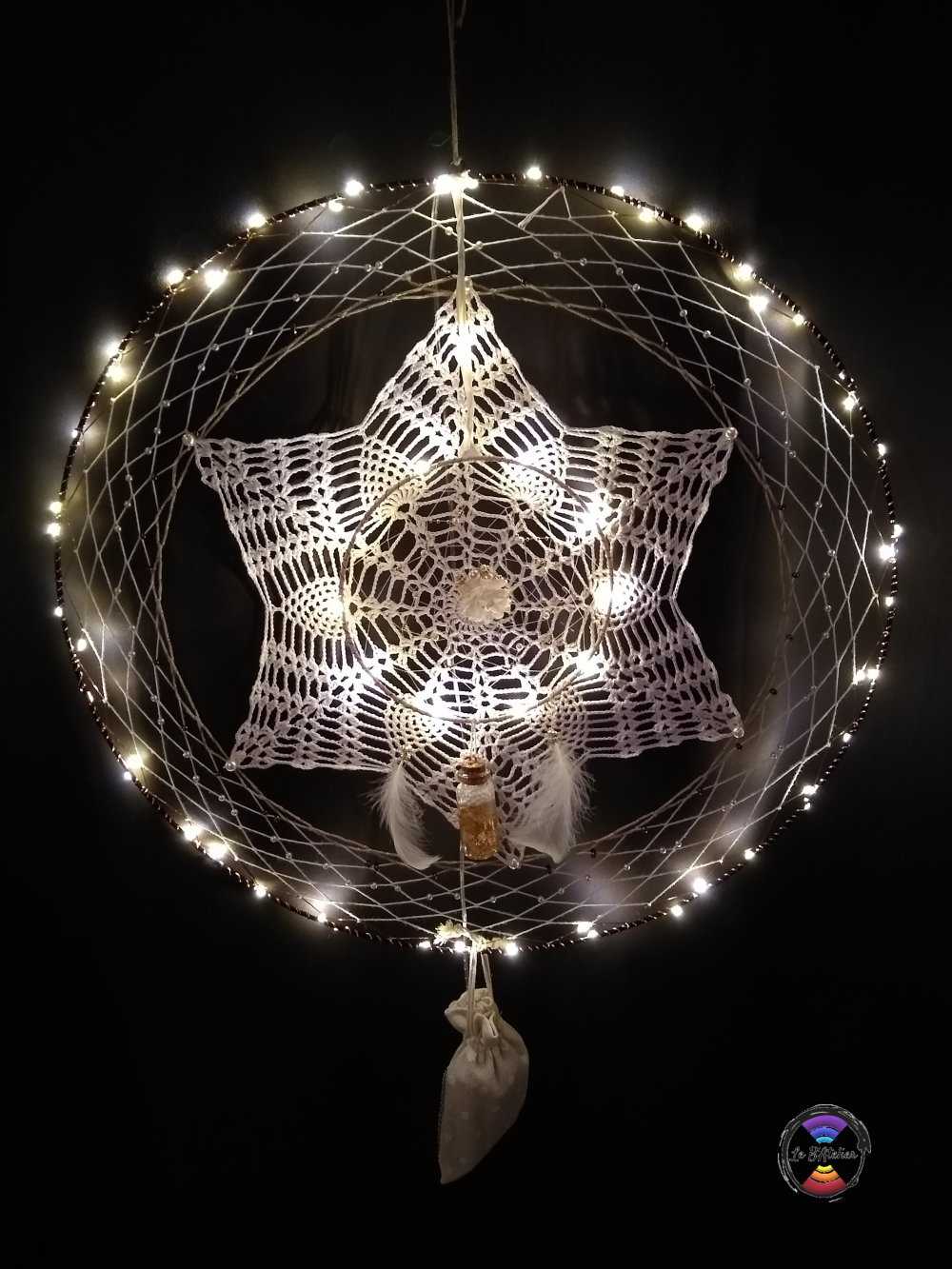 Grand Attrape-rêve Blanc illuminé / Idée cadeau de Noël