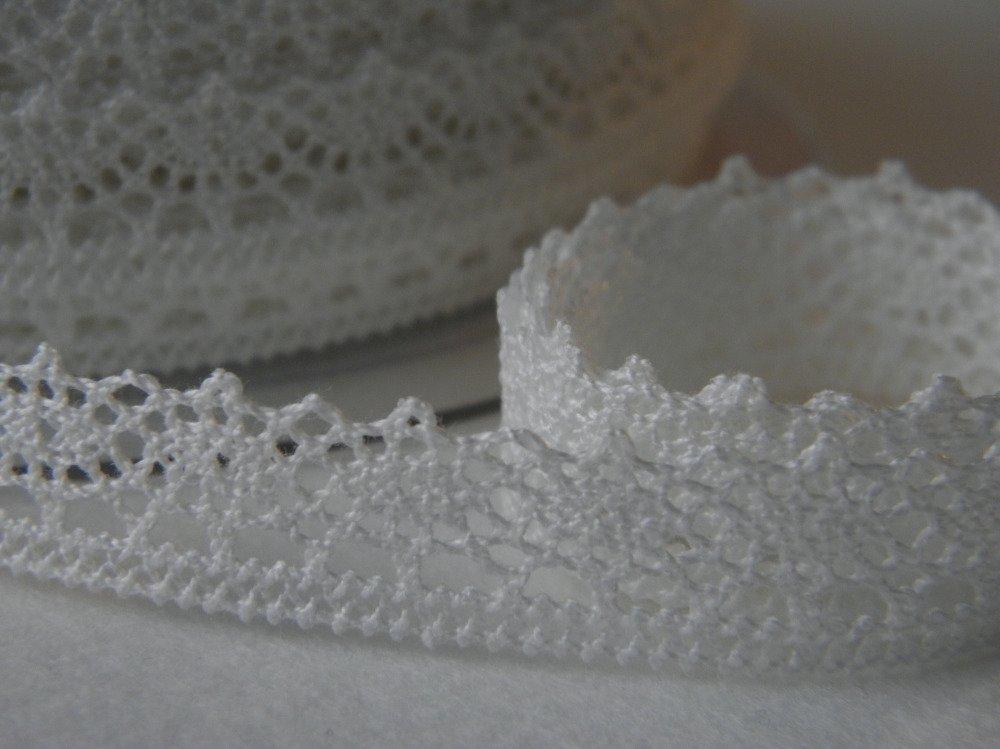 Ruban dentelle en coton - Vendu par 10 cm - galon - passementerie - mercerie - couture - Blanc - COL 02 - FROU FROU.