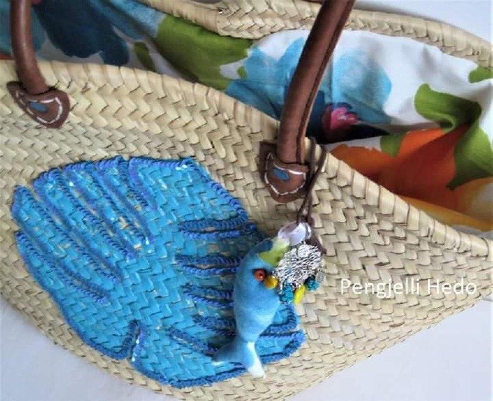 """Panier """"La sardine des îles"""" en version turquoise"""