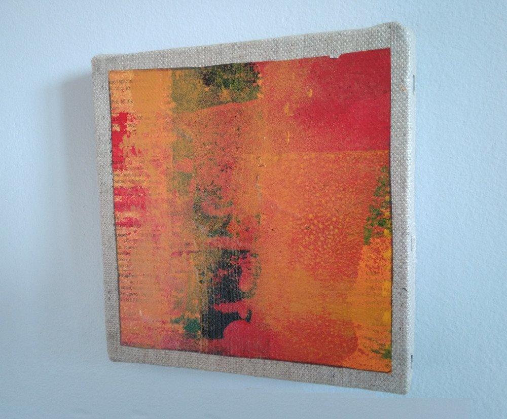 Mini cadre décoratif - peinture abstraite - collage - M095
