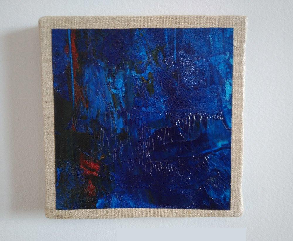 Mini cadre décoratif - peinture abstraite - collage - M085