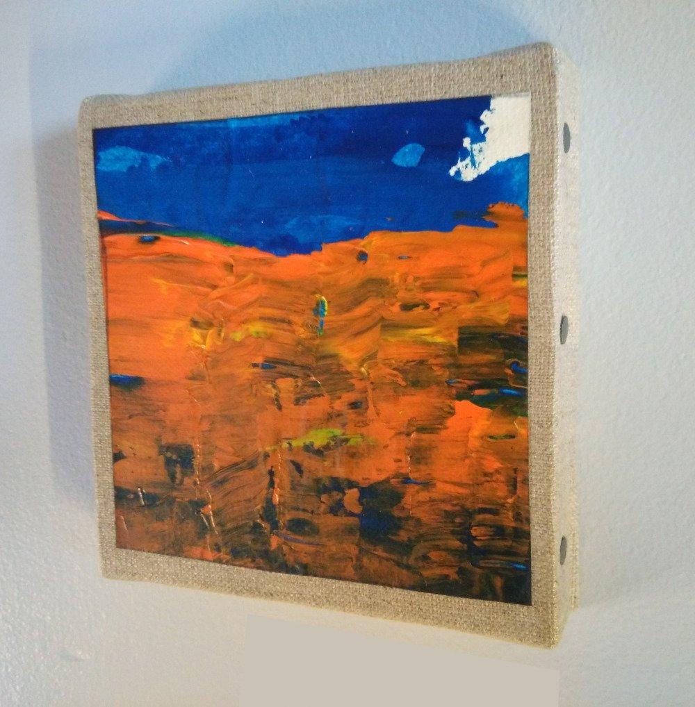 Mini cadre décoratif - peinture abstraite - collage - M078