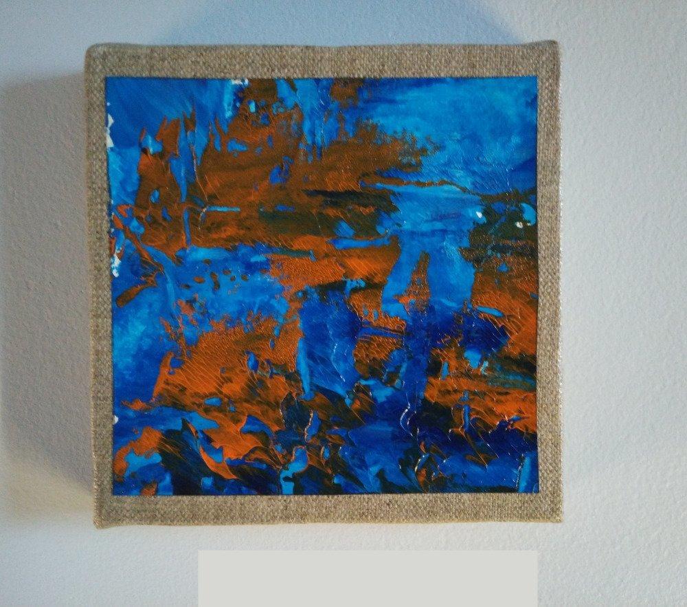 Mini cadre décoratif - peinture abstraite - collage - M079
