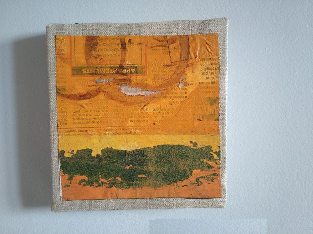 Mini cadre décoratif - peinture abstraite - collage - M127