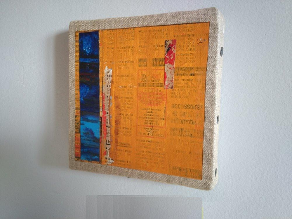 Mini cadre décoratif - peinture abstraite - collage - M132