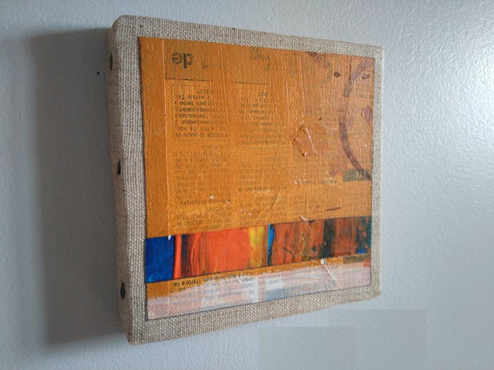 Mini cadre décoratif - peinture abstraite - collage - M133