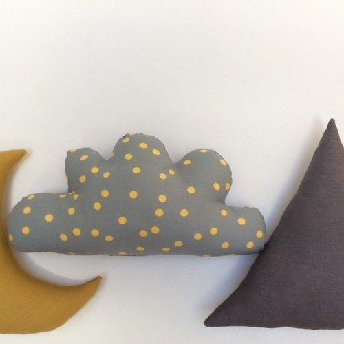 Déstockage : coussin nuage gris pois jaunes et lin gris