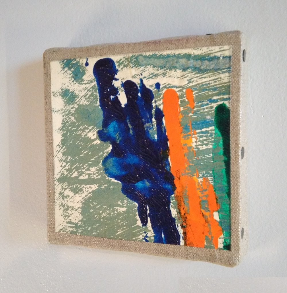 Mini cadre décoratif - peinture abstraite - collage - M050