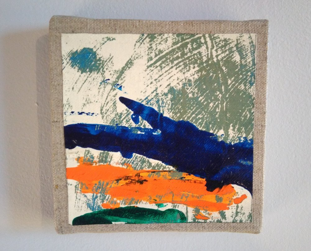 Mini cadre décoratif - peinture abstraite - collage - M051