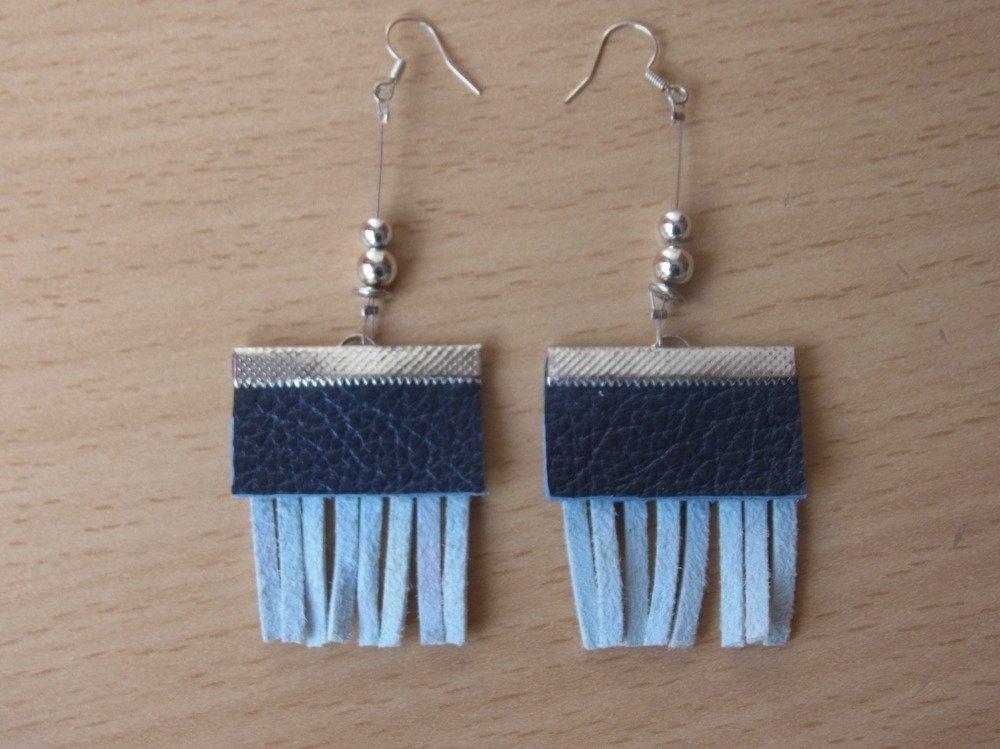 boucles d'oreille à franges suédine et cuir/boucles d'oreilles cadeau EVJF/bijou fete des mères