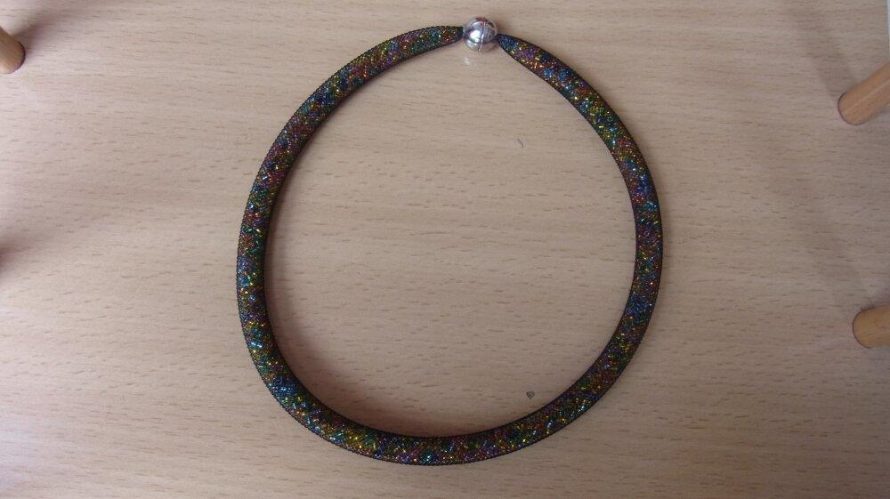 collier résille noire perles multicolores/ras du cou avec perles de rocaille/ras du cou femme