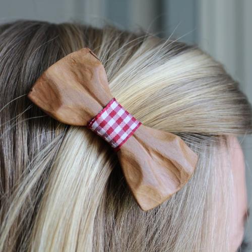 """Barrette à cheveux en bois - """"la taillée"""" - vichy rouge"""