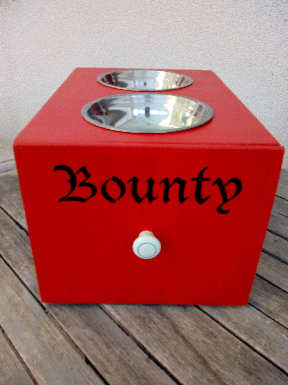 Gamelle Pour Chien Hauteur cadeau chien personnalisé, caisse a vin personnalisé porte gamelle, cadeau  bois peint petit gros chien rangement nourriture