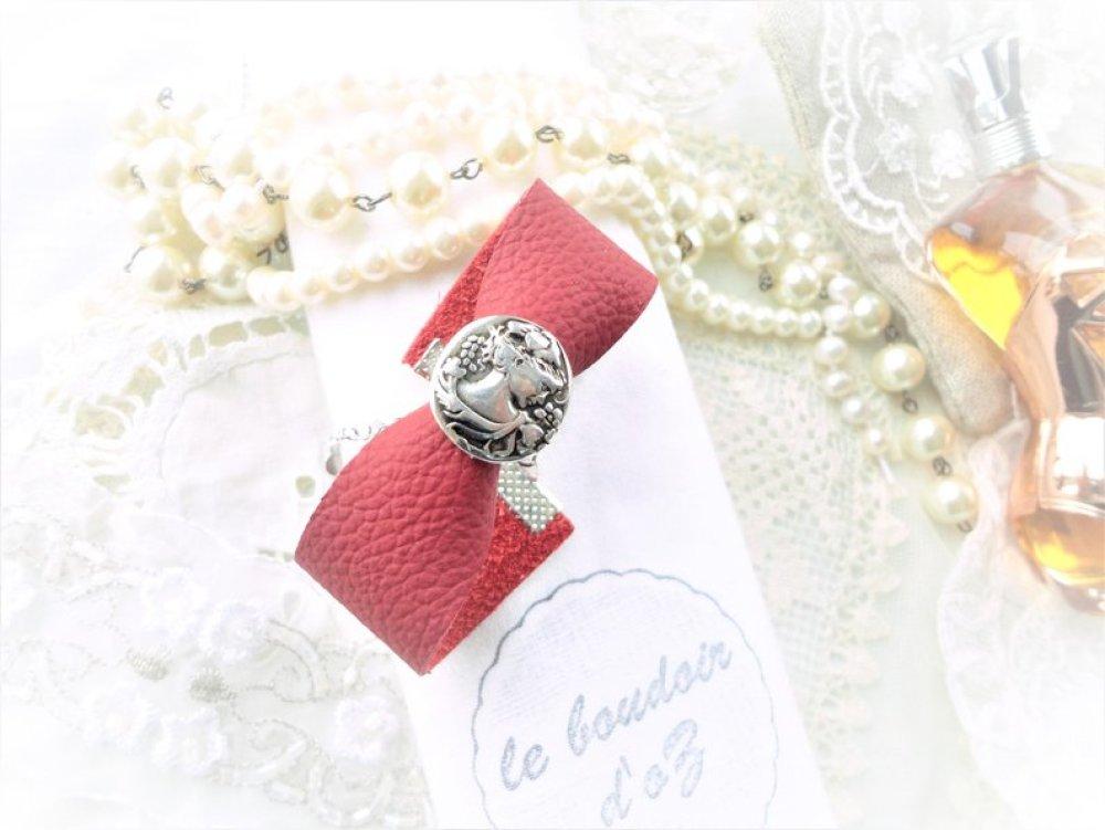 bracelet cuir rouge, perle passant camée, bijoux fantaisie femme