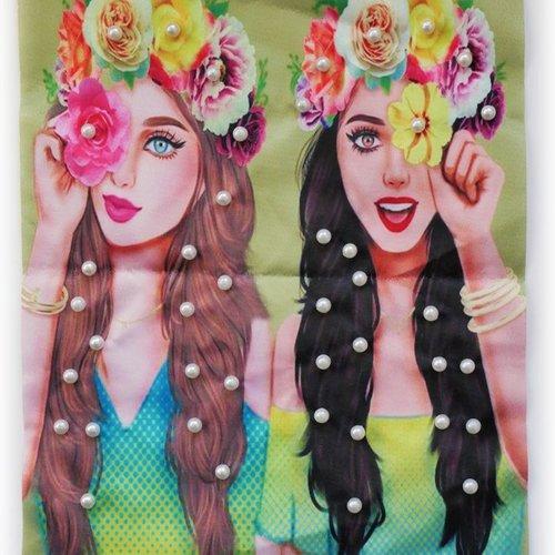 Grand patch tissu imprimé femmes frida kahlo et brodé 3d de perles 24 cm x 19 cm