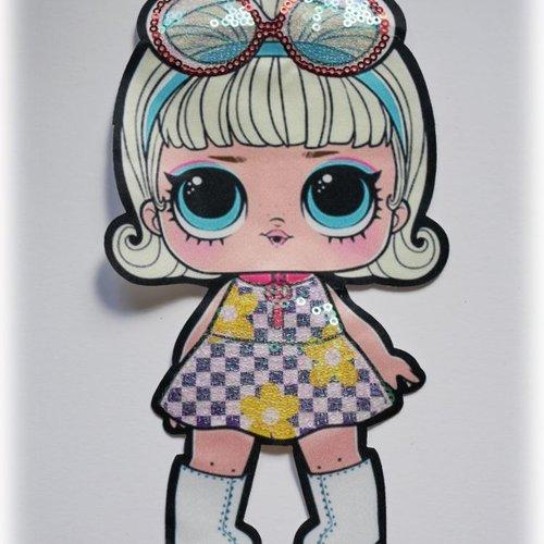 Patch poupée lol style années 70's brodé de sequins