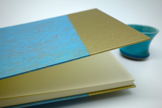 """Album photo en papier japonais """"vagues bleues"""" - album de mariage, de naissance ou livre d'or"""