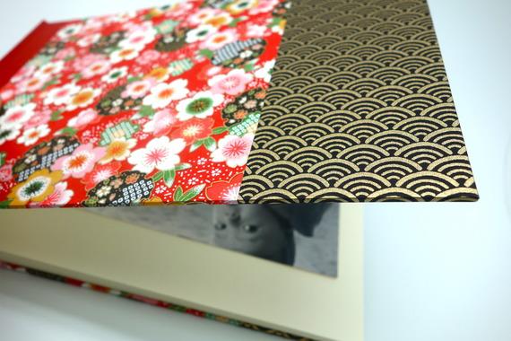 """Album photo en papier japonais """"Kimono noir"""" - livre d'or pour mariage, anniversaire..."""
