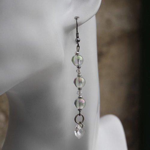 Boucles d'oreilles cristal de swarovski-perles de verre transparent modèle