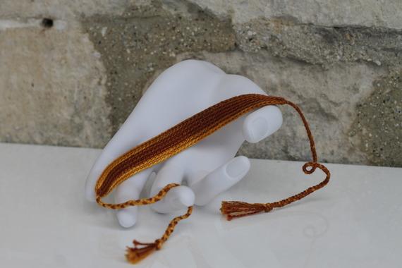 """Bracelet Brésilien en coton DMC crocheté main en dégradé de marron Modèle """"Sao Gonçalo"""""""
