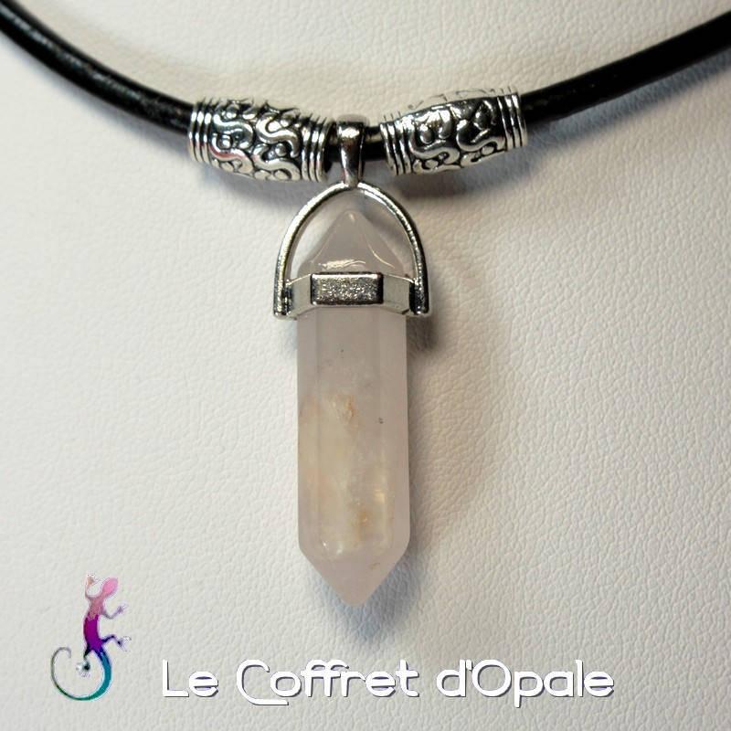 """Collier """"Gimli"""" original en cuir noir avec pendentif  """"gemme"""" et perles argentées ethniques"""