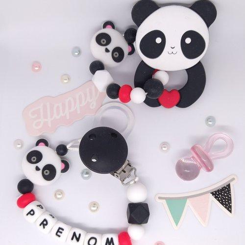 Lot attache tétine personnalisé anneau de dentition/hochet assorti panda