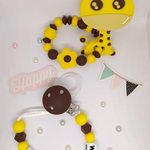 Lot attache tétine personnalisé anneau de dentition/hochet assorti girafe