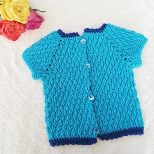 Gilet bébé turquoise au crochet  - taille 6 mois