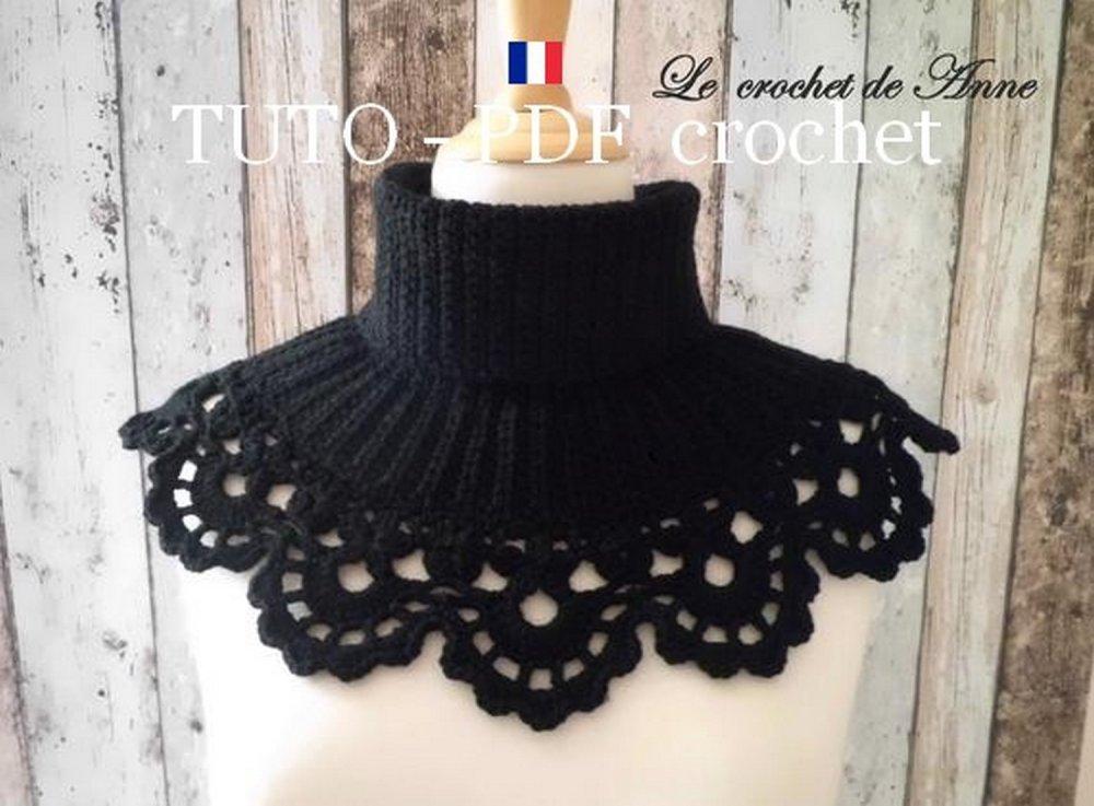 Pdf Crochet Tour De Cou Col Roulé Orné Dune Belle Bordure Dentelle Facile à Réaliser