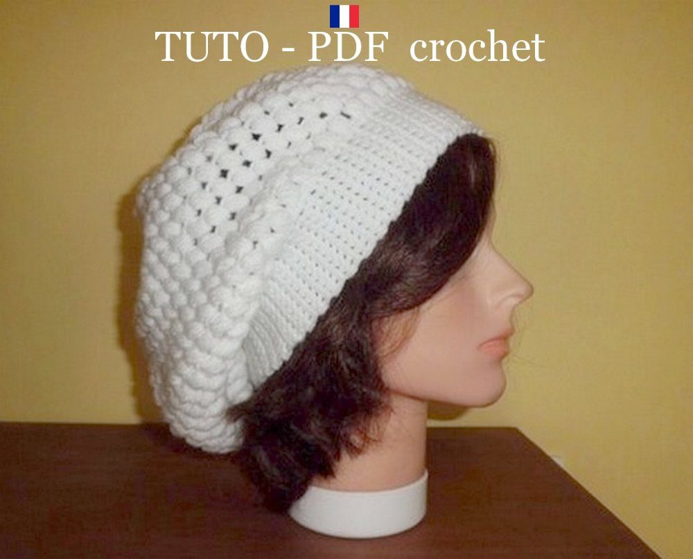 Pdf Crochet Bonnet Tombant Style Slouchy Orné Du Joli Point Puff Stitch Facile à Réaliser