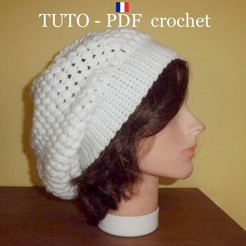 Pdf Crochet Bonnet Tombant Style Slouchy Orné Du Joli Point Puff Stitch Facile à Réaliser
