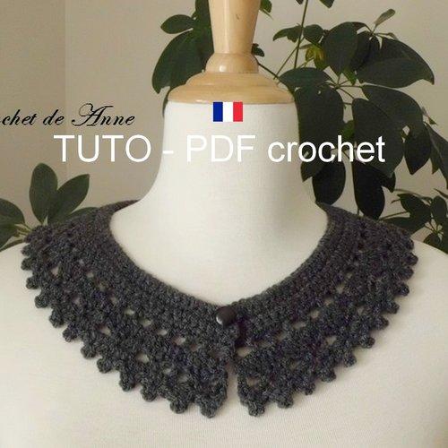 Pdf Crochet Col Claudine Aux Jolis Points Fantaisies Orné De Petits Picots Sur La Bordure Facile à Réaliser