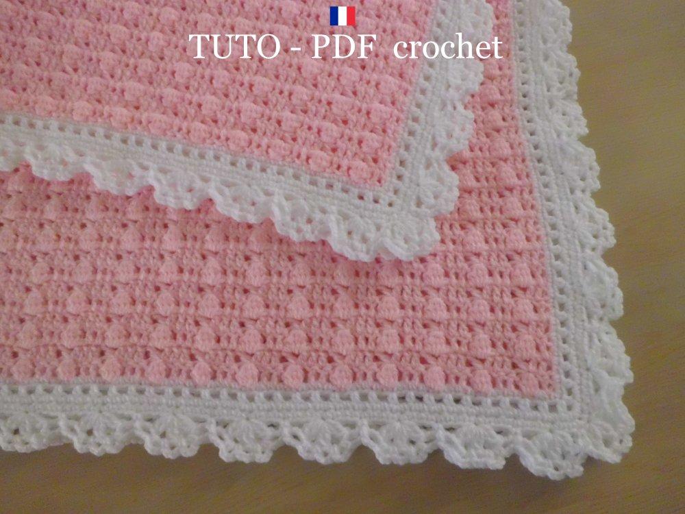 Pdf Crochet Couverture Bébé En Rose Orné Dune Belle Bordure Dentelle Blanche Facile à Réaliser