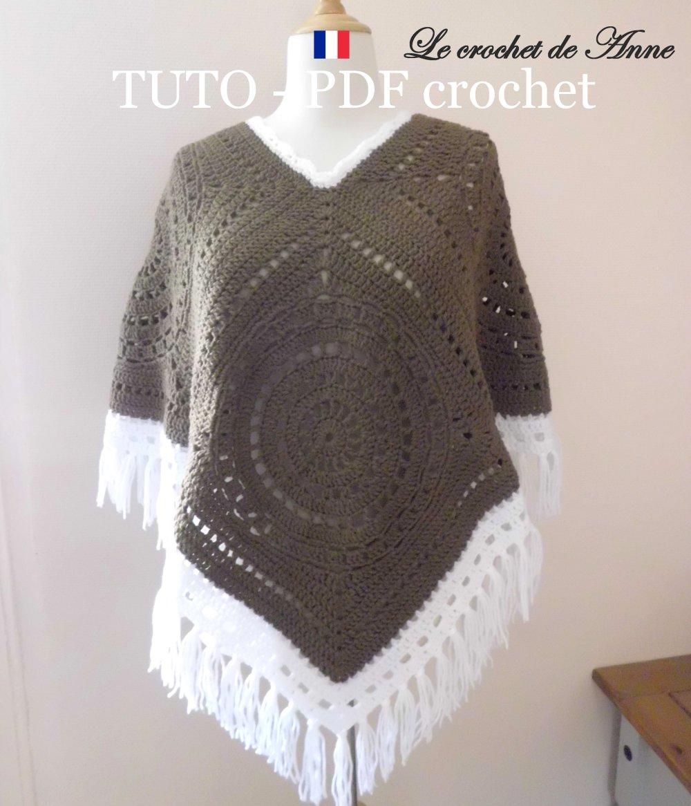 Pdf Crochet Poncho Bohème Hippie Aux Carrés Granny Géants Orné De Belles Bordures Blanches Facile à Réaliser