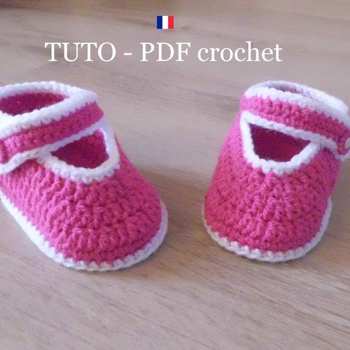 Pdf Crochet Chaussons Bébé Rose Fuchsia Orné De Bordures