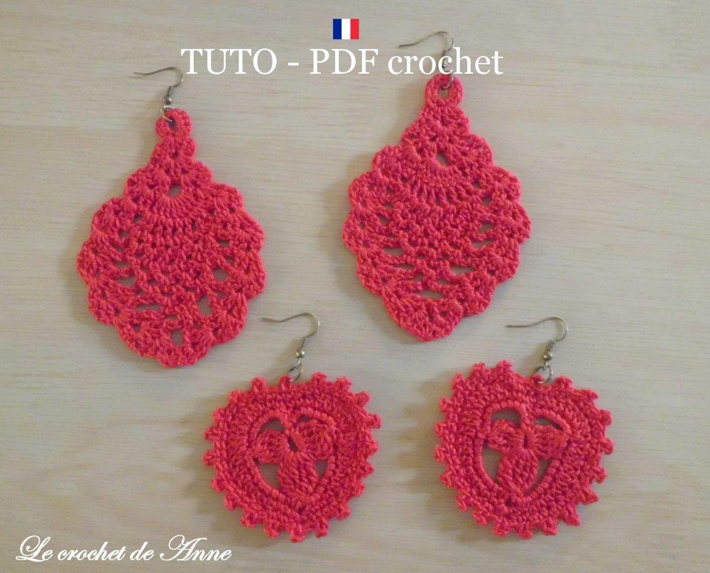Pdf Crochet Boucles Doreilles Motif Ananas Et Motif Coeur Bijoux Romantique En Dentelle Fine Facile à Réaliser