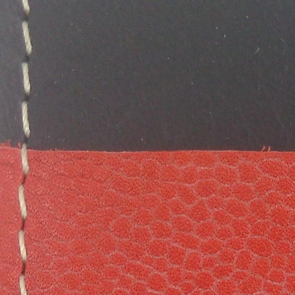 Porte-cartes bicolore en cuir noir et corail couture paille